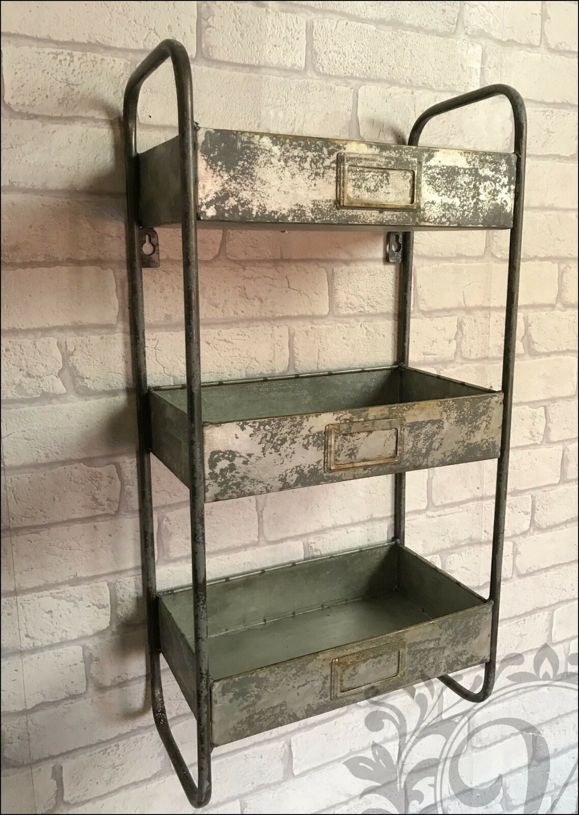 retro vintage industrial style metal shelves shelf storage cabinet cupboard unit ebay. Black Bedroom Furniture Sets. Home Design Ideas