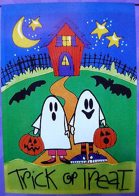 "small Applique Halloween ""Trick or Treat"" Ghosts Garden Art Flag (12.5"" x 18"")"