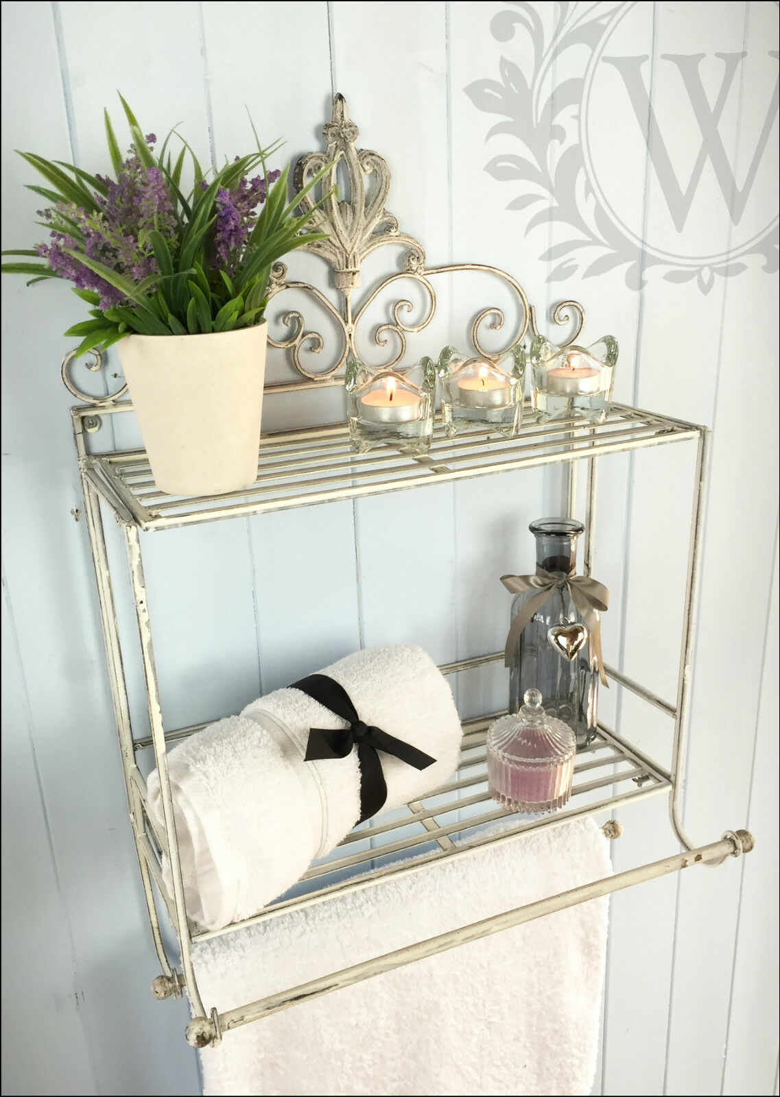 Shabby Chic Metal Scroll Shelf Hanging Storage Towel Rail