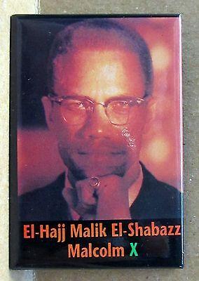 El-Hajj Malike El-Shabazz MALCOLM X rectangular portrait pinback button