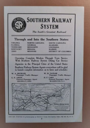 Antique Travel 1918 Southern Railway Railroad System Map Adirondack Mountains Ad