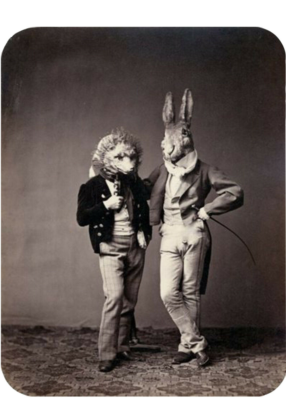 Funny Weird Odd Victorian Gentleman Wearing Animal Costumes T-shirt