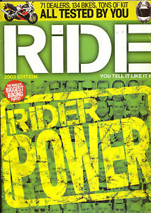 RIDE-MOTORCYCLE-MAGAZINE-2003-BIGGEST-BIKING-SURVEY-66-PAGES-BIKES-KIT-DEALERS