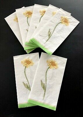 NEW Long Stem Yellow Flower Paper Guest Towels Napkins Decoupage Lot of 7