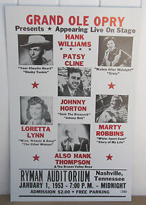Vintage Grand Ole Opry Concert Poster Hank Williams, Patsy Cline, Loretta Lynn