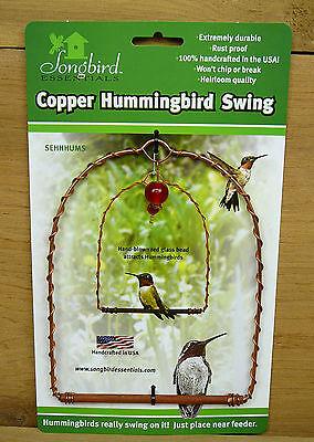 Songbird Essentials Copper Hummingbird Swing Hanging Perch w/ Red Glass Bead