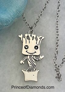 Silver coloured Baby Groot Guardians of the Galaxy necklace.