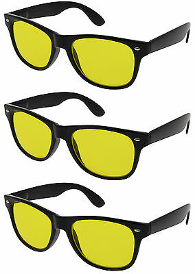 3 PAIRS HD NIGHT or DAY TIME BLUE BLOCKER Sunglasses Driving glasses Yellow (Night Time Sunglasses)