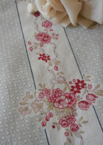 Antique French Shabby Cottage Floral Roses Stripe Dot Cotton Fabric #3 ~ Pink