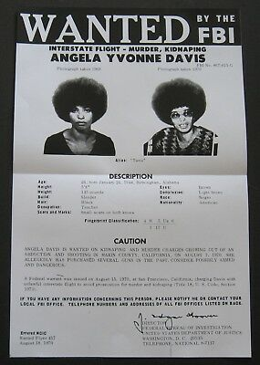 ANGELA DAVIS 1970 FBI MOST WANTED POSTER BLACK PANTHERS Reproduction