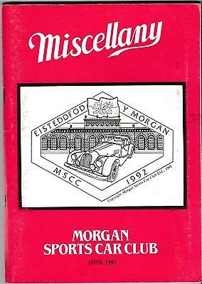 MISCELLANY MORGAN SPORTS CAR CLUB MAGAZINE JUNE 1992 POST FREE