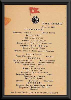 Titanic Last Menu White Star Line Reprint On Original Period 1912 Paper *P010