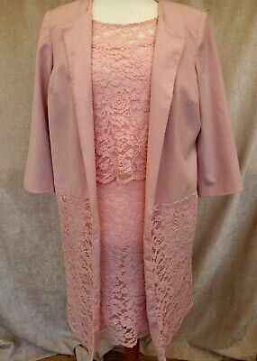 Together - Layered Pink Lace Short Sleeve Shift Dress & Coat Size -