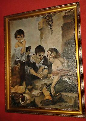 ALDORF 1970, Kinder beim Würfelspiel, Öl auf Leinwand, signiert