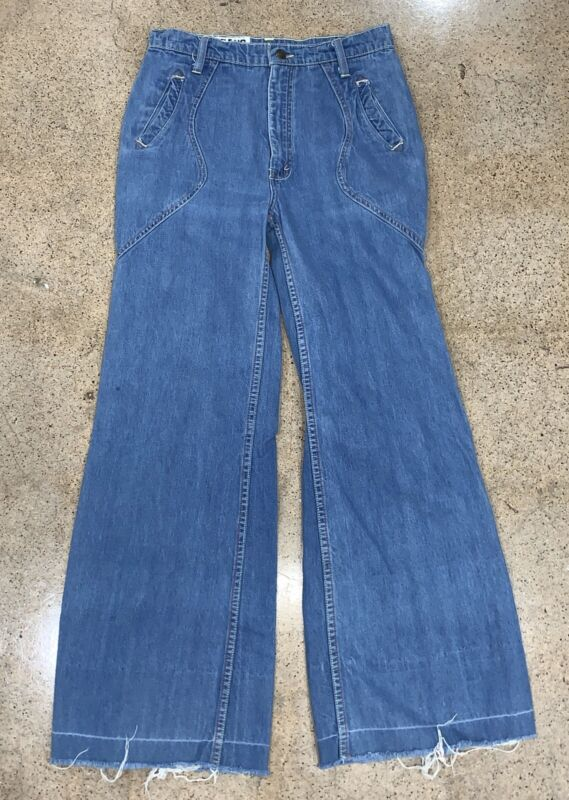 Vtg 60s 70s Hippy Denim Big Bellbottom Flare High Waisted Jeans USA Pant 29