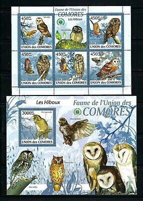 Comoros 2009 Mi#2412-16, #2429 Block 526  Owls  MNH MS/SS Set $28.75
