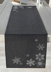 Tischläufer Silberkristall 40x140cm,grau, Tischdekoration, Weihnachten, bestickt