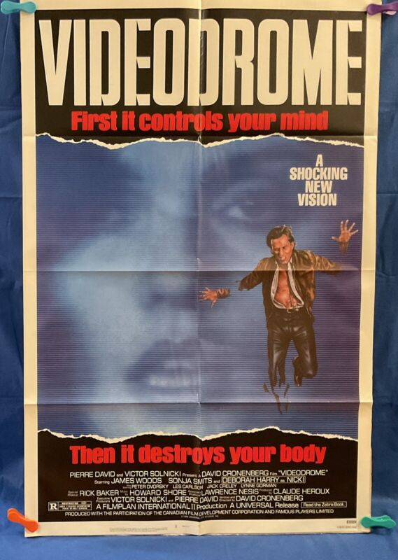 VIDEODROME Original Theatrical Movie Poster MINT with FREE SHIPPING