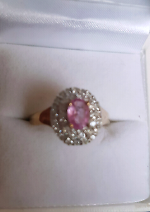 Pink Sapphire n Diamonds Halo Gold Ring Pearsall Wanneroo Area Preview