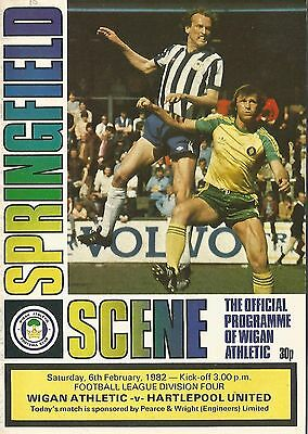 Football Programme - Wigan Athletic v Hartlepool United - Div 4 - 1982