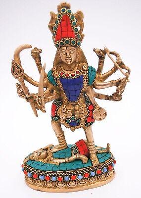 Large Maa Kali Brass Statue Hindu Religious Goddess Devi Idol-Indian deity, used for sale  Sedro Woolley
