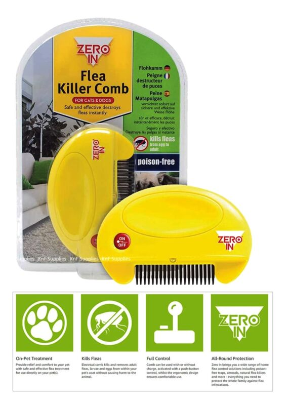 STV Zero In Electric Flea Killer Comb For Pet Cats & Dogs Kills Eggs