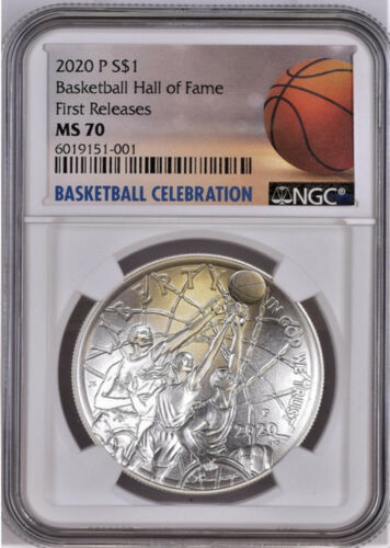 2020 P BASKETBALL HALL OF FAME SILVER DOLLAR, NGC MS 70, FIRST RELEASES