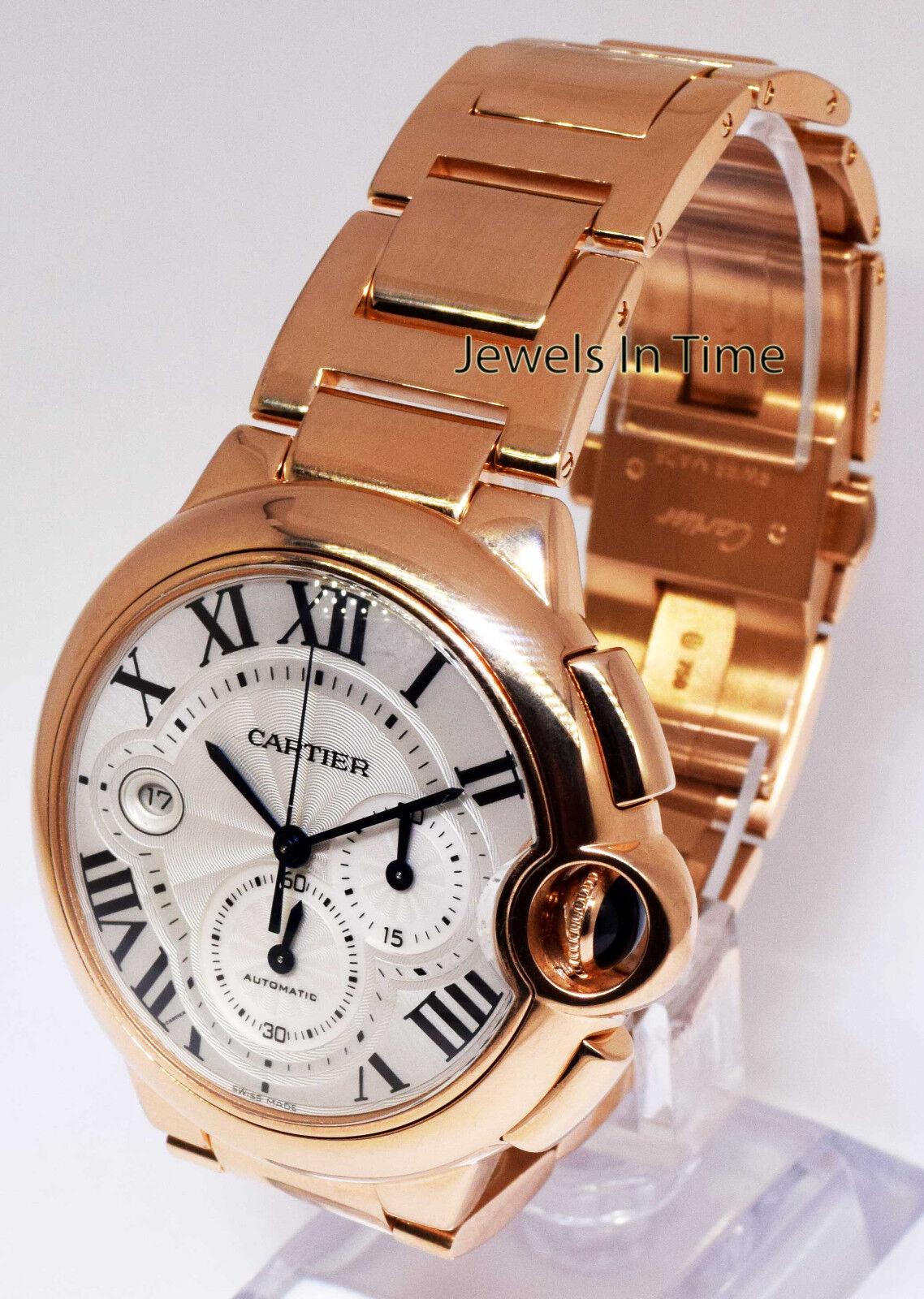 $26888.00 - Cartier Ballon Bleu 18k Rose Gold XL Chronograph Watch & Box W6920010