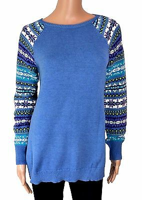 American Living Fair Isle Sleeves Sweater Nordic Blue Size L