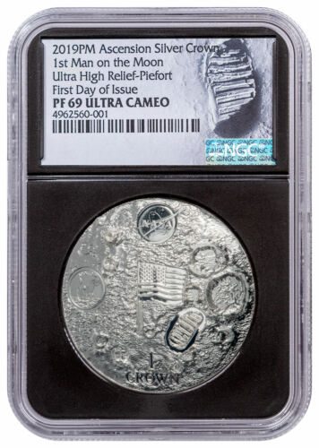2019 Ascension First Man Moon Apollo 11 UHR 2oz Silver NGC PF69 FDI Blk SKU57997