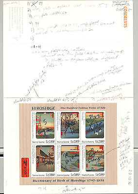 Sierra Leone #2001-2003 Hiroshige Art M/S of 6 & 2v S/S Imperf Chromalin Proofs