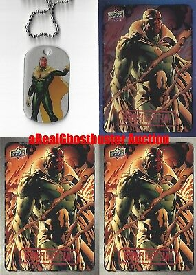 Vision Dog Tag + 2 Base Cards & 1 Foil Card - Upper Deck Marvel Dossier
