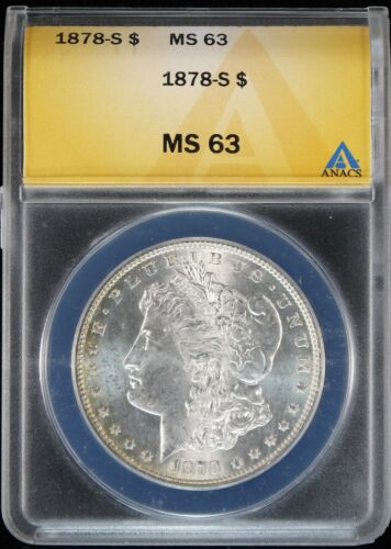 Beautiful 1878-s Morgan Silver Dollar ANACS MS63