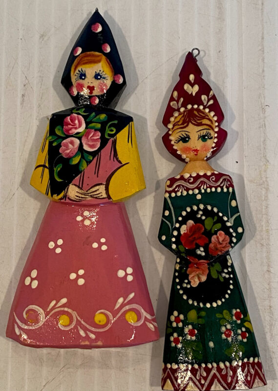 Vintage Russian Lacquered Hand Painted Russian Women Ornaments Matryoshka Set 2