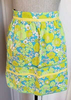 Vintage Aprons, Retro Aprons, Old Fashioned Aprons & Patterns Vintage 1960's Half Apron Floral with Front Pockets - blue, Green, Yellow $14.00 AT vintagedancer.com
