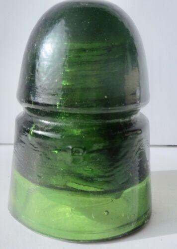 VINTAGE DARK GREEN B GLASS INSULATOR 00 ON TOP