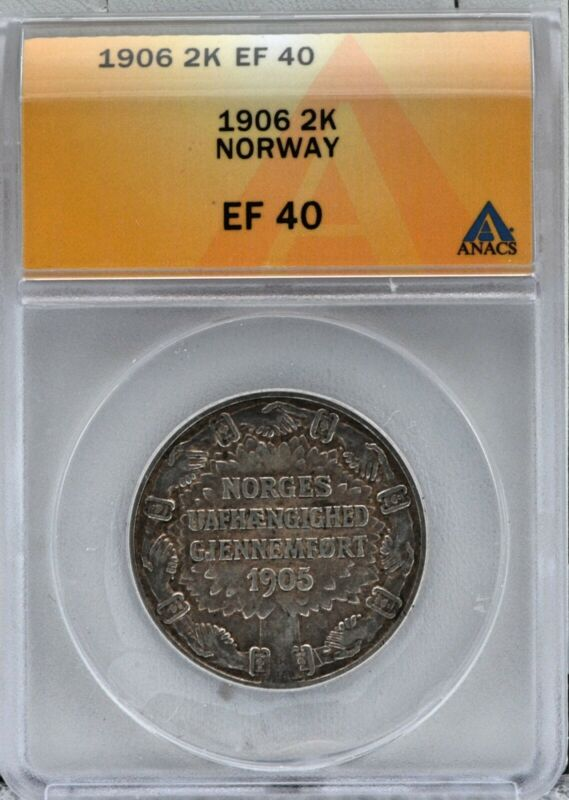 Norway 1906 2 Kroner Independence Silver Coin Certified ANACS XF 40