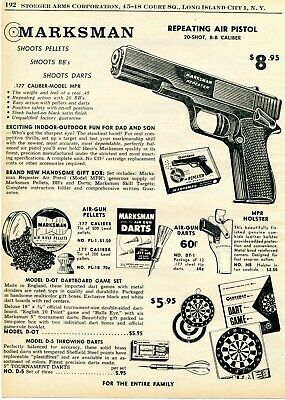 1961 Print Ad of Marksman Model MPR Air Pistol BB Gun & Accessories Bb Gun Accessories