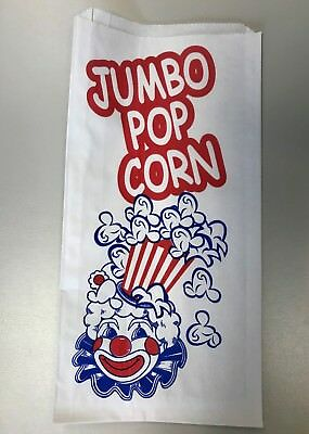 Popcorn Bags - Paper 5 x 3/4 x 10 100 Count Lot with Red and Blue Clown Design (Paper Popcorn Bags)