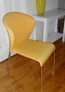 FUNKY WINGBACK YELLOW FABRIC UPHOLSTERED DINING CHAIRS ULTRA COOL Coburg Moreland Area Preview