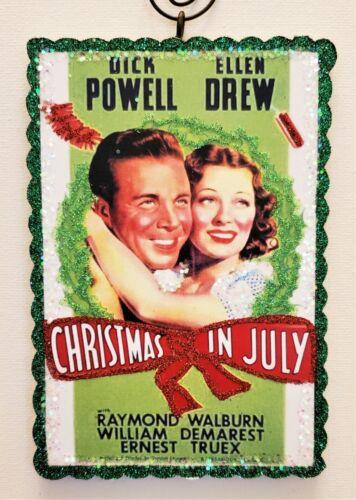 CHRISTMAS in JULY ~  MOVIE POSTER  * Glitter WOOD CHRISTMAS ORNAMENT * Vtg Img