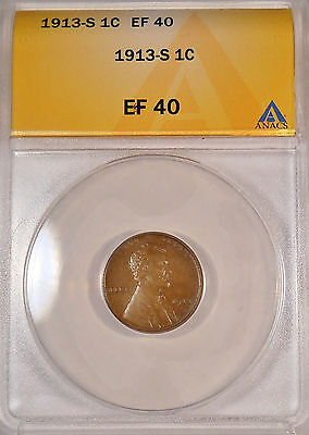 1913S ANACS EF40 LINCOLN WHEAT EAR PENNY CENT SHIPS FREE  COIN EXTRA FINE  95