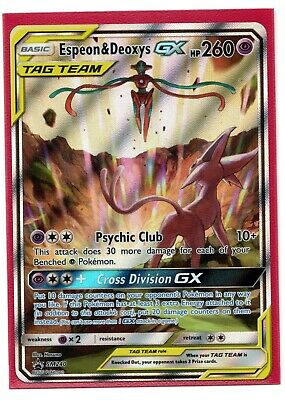 Pokemon Espeon & Deoxys GX SM240 Promo IN-HAND Alternate Art Powers Collection