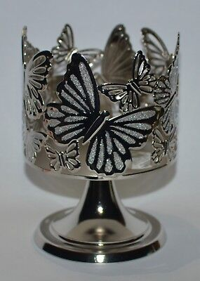 BATH & BODY WORKS GLITTER BUTTERFLIES PEDESTAL LARGE 3 WICK CANDLE HOLDER SLEEVE