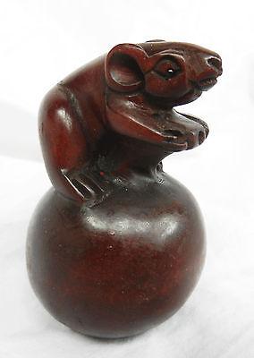 Vintage Carved Wooden Japanese Netsuke - Mouse on Apple