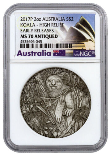 2017P Australia $2 Koala High Relief 2oz Silver Antiqued NGC MS70 Early Releases