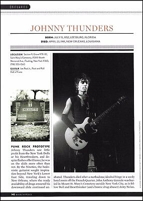 New York Dolls Johnny Thunders 1952-1991 obituary tribute cemetery death article