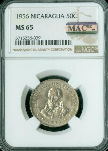 1956 NICARAGUA 50 CENTAVOS NGC MS-65 PQ 2ND FINEST GRADE MAC SPOTLESS  *