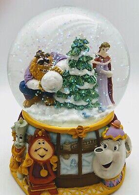 Disney Enesco Beauty & The Beast Musical Christmas Snow Globe In Good Condition