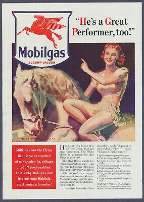 McClelland Barclay Illustration Mobilgas Gasoline Vintage Magazine Print Ad 1940